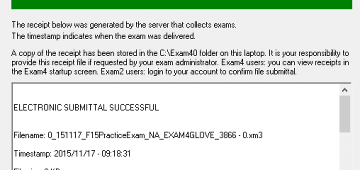 Exam Submittal Successful